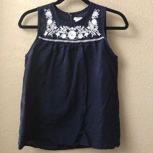 J Crew embroidered sleeveless top